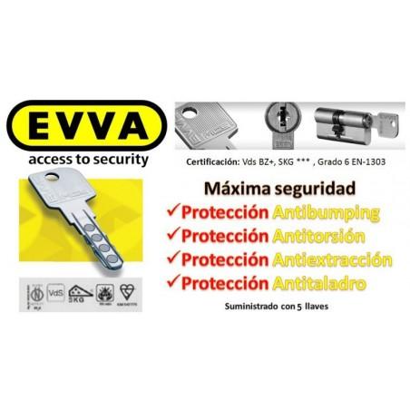 Bombín Antibumping EVVA MCS Alta Seguridad Magnético 5 Llaves - Sin Pomo