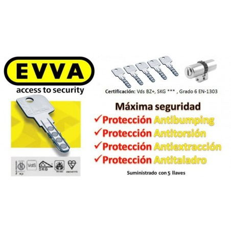Bombín Antibumping EVVA MCS Alta Seguridad Magnético 5 Llaves - Perfil Suizo para Arcu