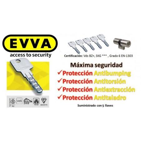 Bombín Antibumping EVVA MCS Alta Seguridad Magnético 5 Llaves (Perfil Suizo para Ezcurra SEA 23)