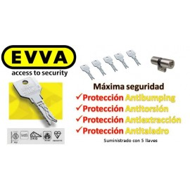 Bombín Antibumping EVVA 3KS PLUS Alta Seguridad 5 Llaves - (Perfil Suizo para Ezcurra SEA 23)