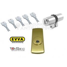 Kit Escudo Protector DISEC LG280ARC + Bombín Antibumping EVVA 4KS PLUS Alta Seguridad  (Perfil Suizo para Arcu)